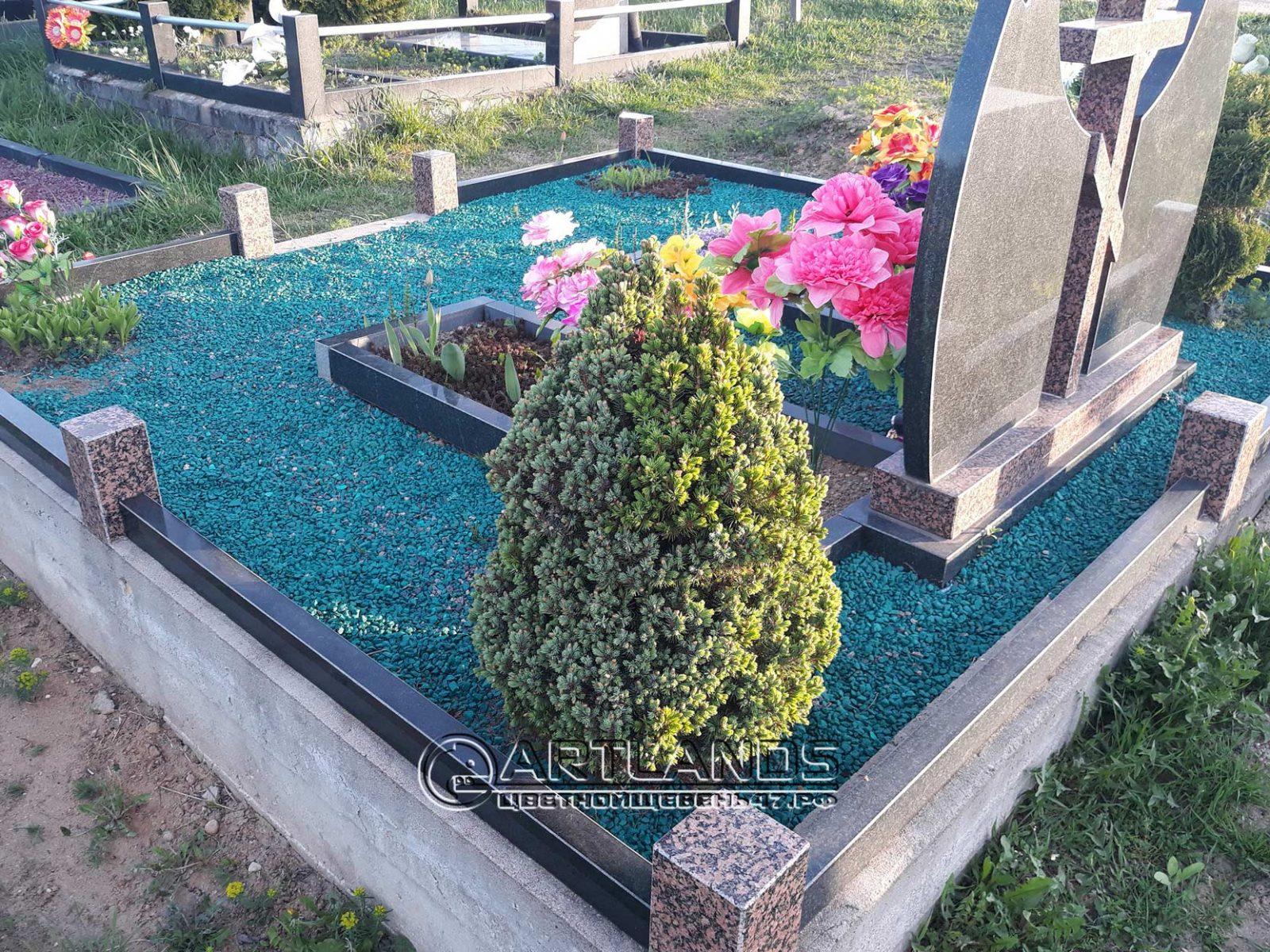 благоустройство могил фото, обустройство могил фото, где купить щебень для кладбища, цветной декоративный щебень для могил купить, гал 68