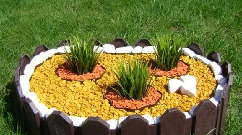 цветной декоративный щебень купить в спб, как украсить клумбу, идеи для сада и огорода своими руками фото, декоративная крошка, в 197