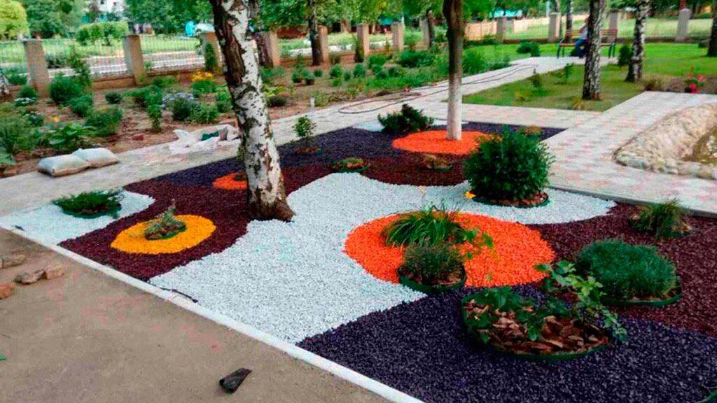 цветной декоративный щебень купить в спб, как украсить клумбу, идеи для сада и огорода своими руками фото, декоративная крошка, в 304
