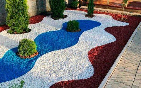 цветной декоративный щебень купить в спб, как украсить клумбу, идеи для сада и огорода своими руками фото, декоративная крошка, в 312