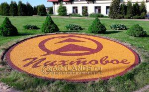 Каменный ковер в виде логотипа загородного клуба