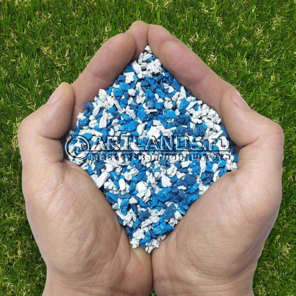 Бело-синий декоративный цветной щебень фракции 1-4мм для ландшафтного дизайна купить