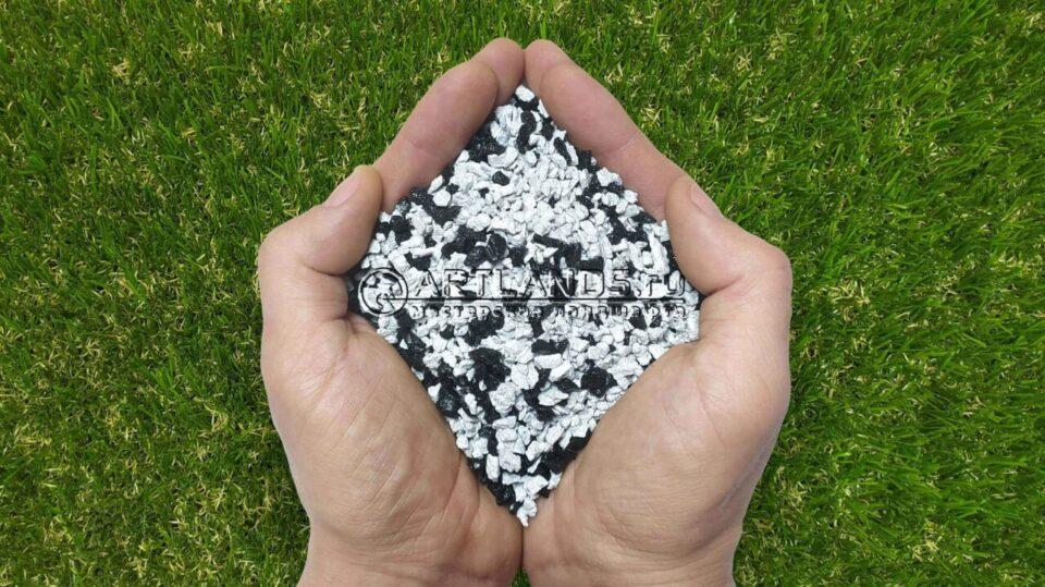 Чёрно-белый декоративный цветной щебень фракции 1-4мм для ландшафтного дизайна купить