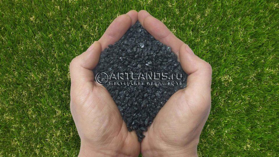 Чёрный декоративный цветной щебень фракции 1-4мм для ландшафтного дизайна купить