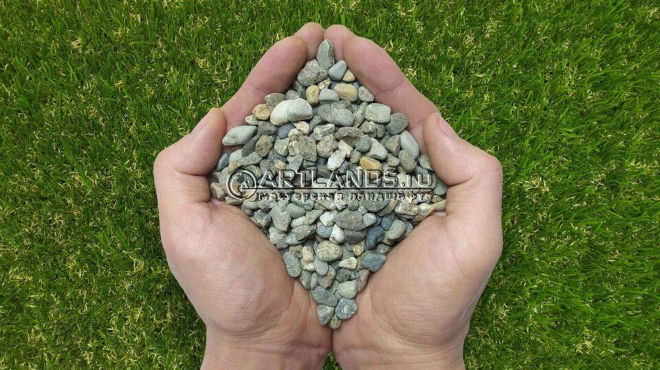 Гравий кавказский серый для каменного ковра купить