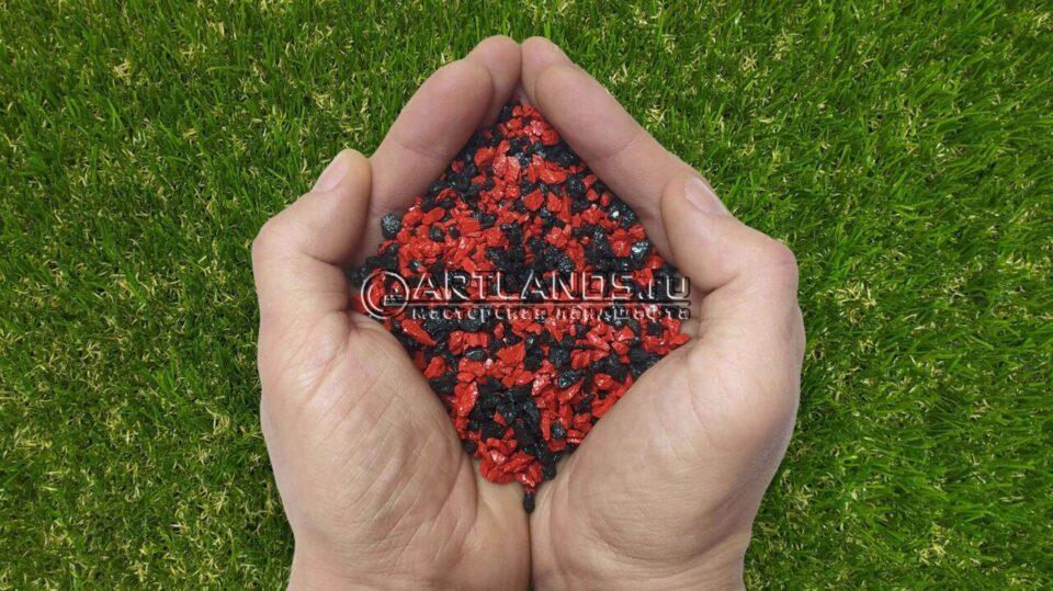 Красно-чёрный декоративный цветной щебень фракции 1-4мм для ландшафтного дизайна купить
