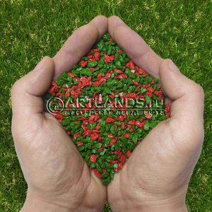 Красно-зелёный декоративный цветной щебень фракции 1-4мм для ландшафтного дизайна купить