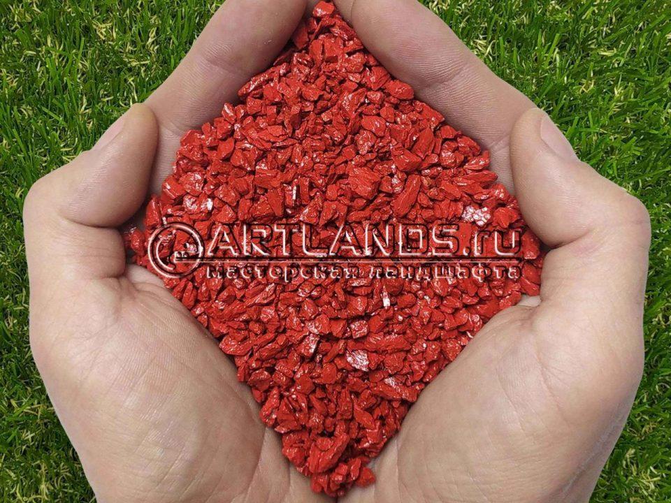 Красный декоративный цветной щебень фракции 1-4мм для ландшафтного дизайна купить