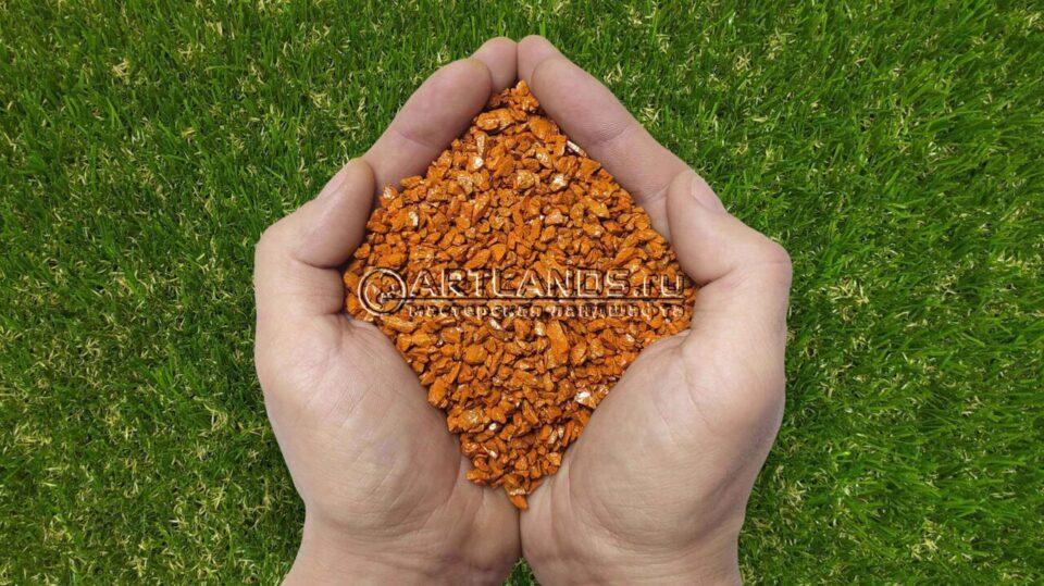 Оранжевый декоративный цветной щебень фракции 1-4мм для ландшафтного дизайна купить