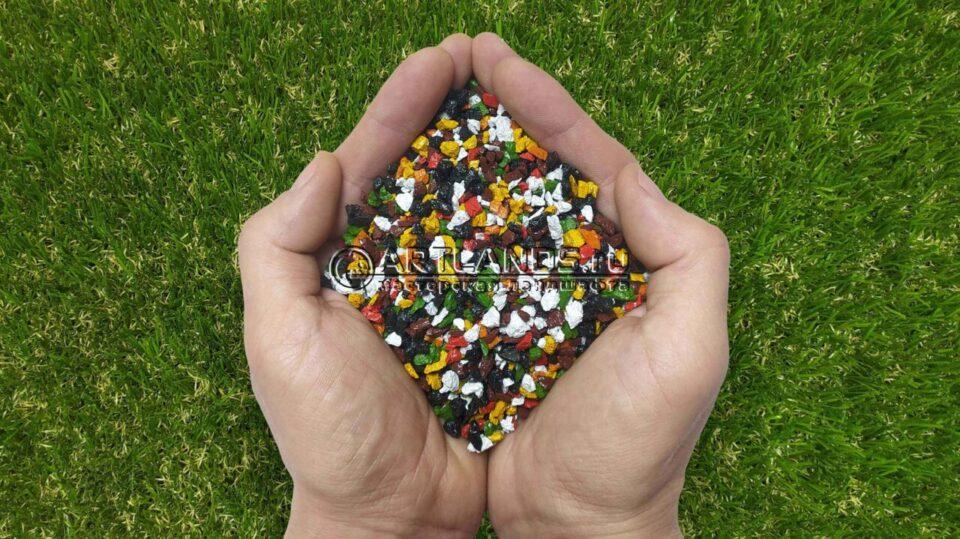 Разноцветно-тёмный декоративный цветной щебень фракции 1-4мм для ландшафтного дизайна купить