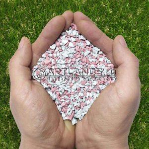 Розово-белый декоративный цветной щебень фракции 1-4мм для ландшафтного дизайна купить
