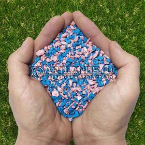 Розово-голубой декоративный цветной щебень фракции 1-4мм для ландшафтного дизайна купить
