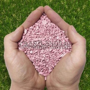 Розовый декоративный цветной щебень фракции 1-4мм для ландшафтного дизайна купить