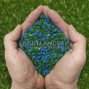 Сине-зелёный декоративный цветной щебень фракции 1-4мм для ландшафтного дизайна купить