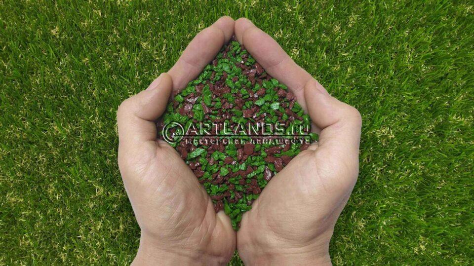Зелёно-коричневый декоративный цветной щебень фракции 1-4мм для ландшафтного дизайна купить