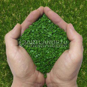 Зелёный декоративный цветной щебень фракции 1-4мм для ландшафтного дизайна купить