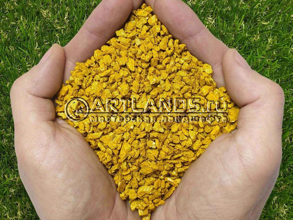Жёлтый декоративный цветной щебень для ландшафтного дизайна купить 2