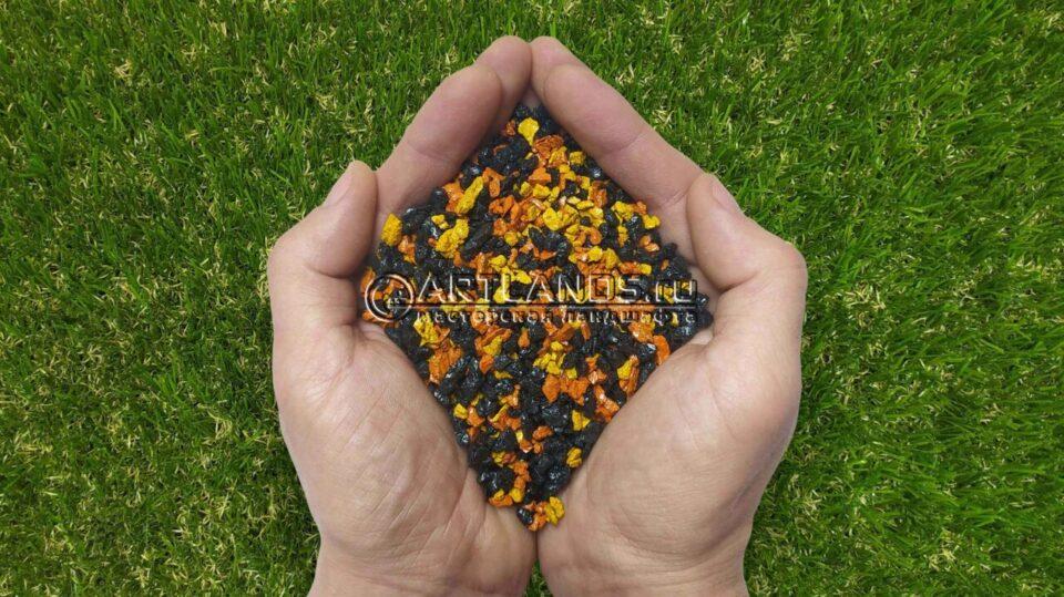 Золотисто-чёрный декоративный цветной щебень фракции 1-4мм для ландшафтного дизайна купить