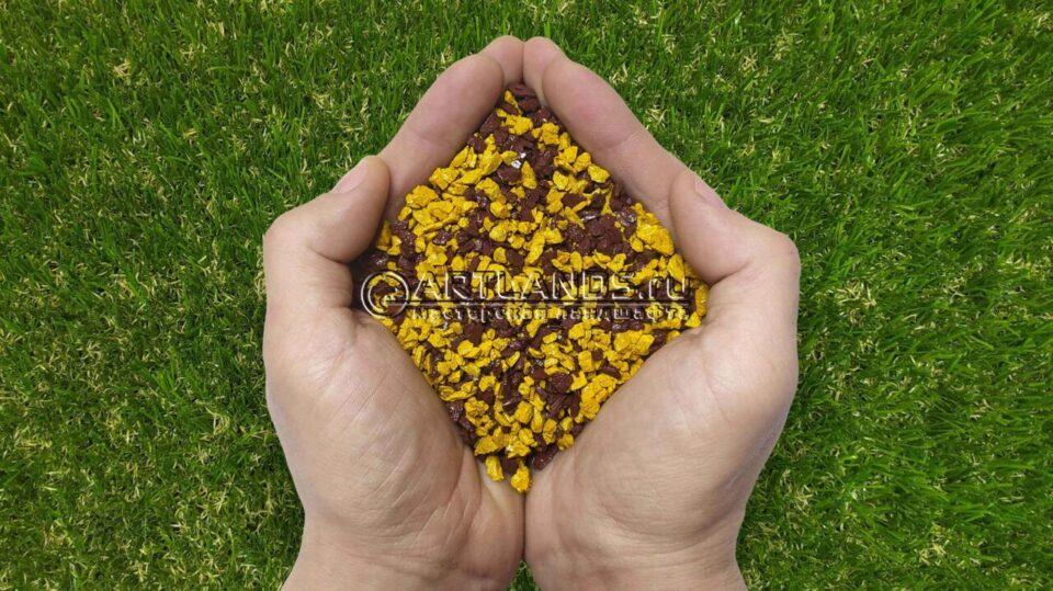 Золотисто-коричневый декоративный цветной щебень фракции 1-4мм для ландшафтного дизайна купить