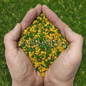 Золотисто-зелёный декоративный цветной щебень фракции 1-4мм для ландшафтного дизайна купить