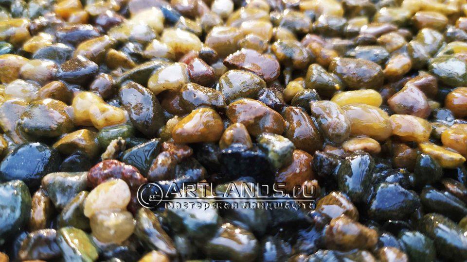 каменный ковёр своими руками из жёлтой кавказской гальки 2