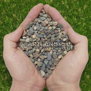 Мытый и сухой пёстрый речной гравий фр. 5-10мм для каменного ковра купить