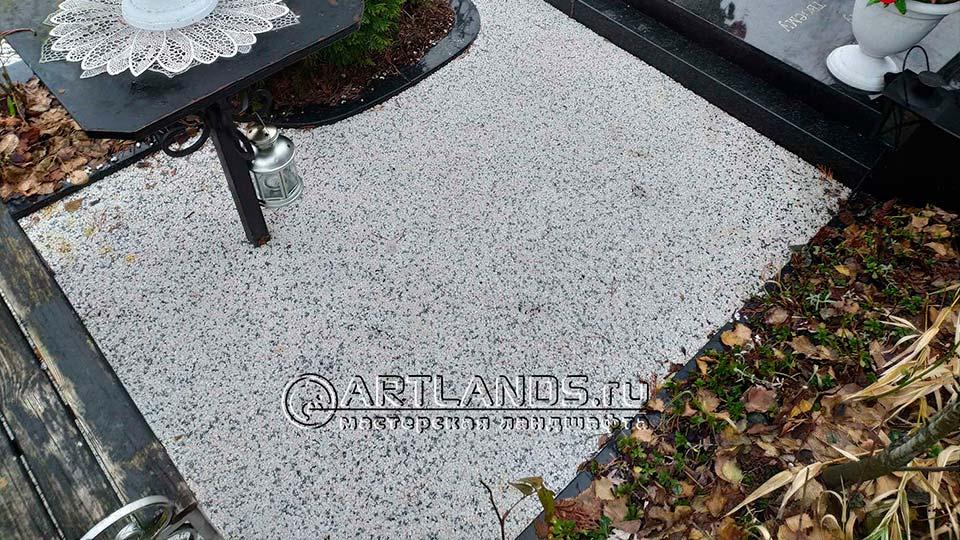 Обустройство захоронений своими руками покрытием каменный ковёр Art Gravel 10