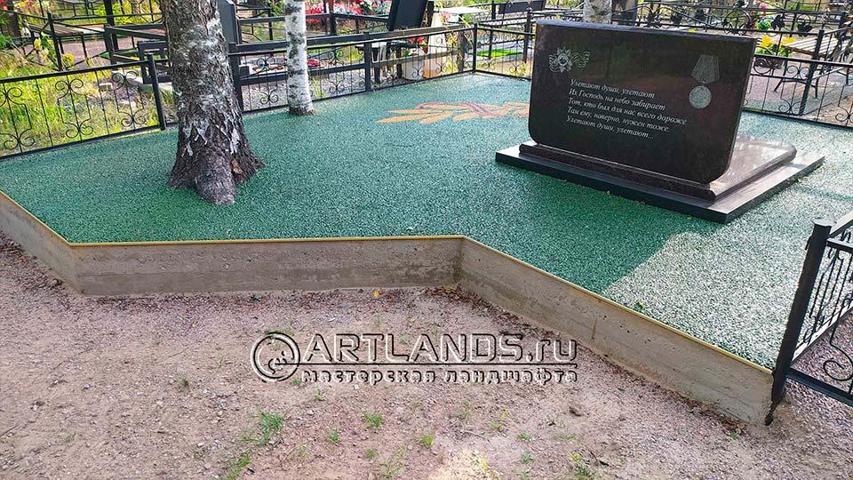 Обустройство захоронений своими руками покрытием каменный ковёр Art Gravel 12