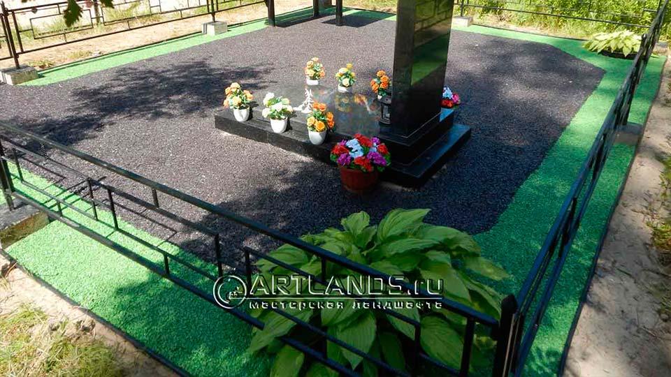 Обустройство захоронений своими руками покрытием каменный ковёр Art Gravel 14