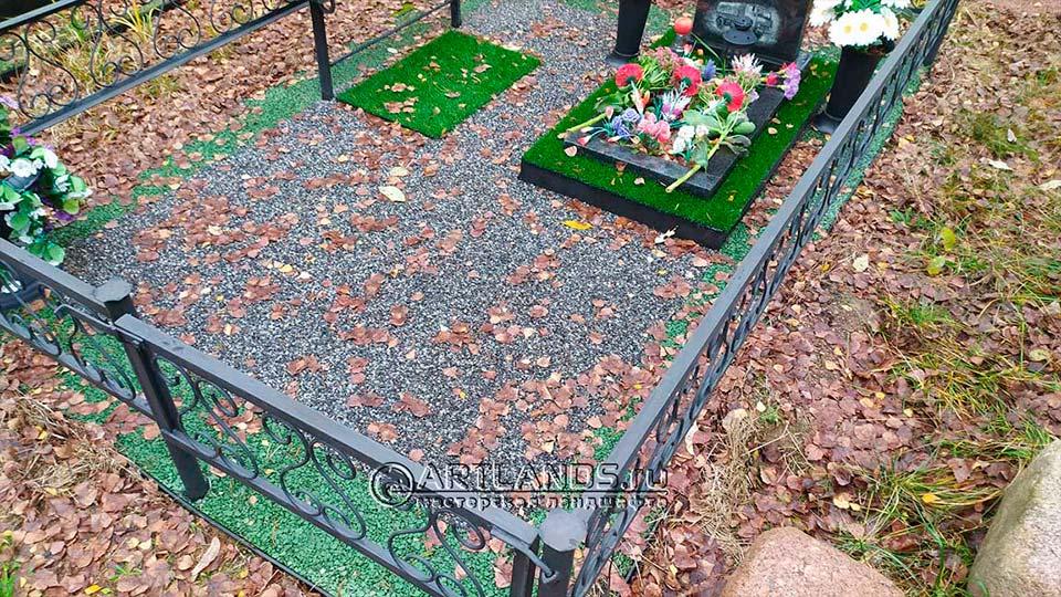 Обустройство захоронений своими руками покрытием каменный ковёр Art Gravel 15