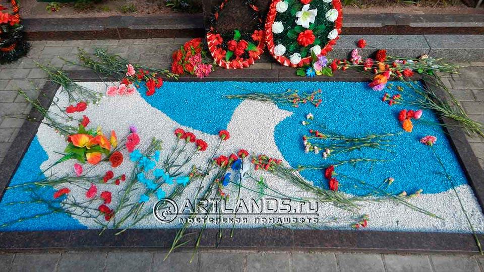 Обустройство захоронений своими руками покрытием каменный ковёр Art Gravel 21